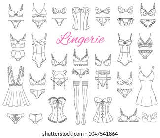 Fashionable  female lingerie collection, vector sketch illustration.  Feminine lace underwear set , panties, bras, corsets, bodies, garter belts, stockings, nightwear isolated on white background.
