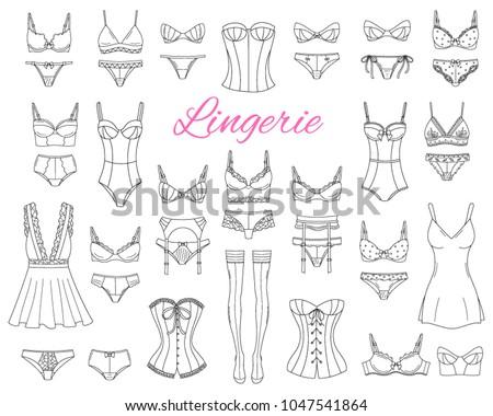 Fashionable Female Lingerie Collection Vector Sketch Stock Vector ... bd721e175