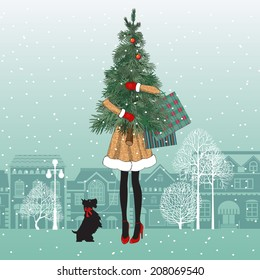 Fashionable girl with dog holds christmas tree and colorful shopping bags. Shopping spree. Happy holidays concept. Vector EPS 10 illustration.