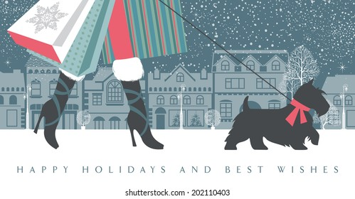 Fashionable girl on high heels with a dog are on a shopping spree. She is holding many colorful shopping bags. Season greetings and happy holidays concept. Vector EPS 10 illustration.