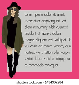 Fashionable girl with sunglasses and pink background, lorem ipsum