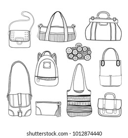 Fashionable handbags. Black and white illustration of bags.