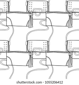 Fashionable handbags. Black and white seamless pattern of bags for coloring book.