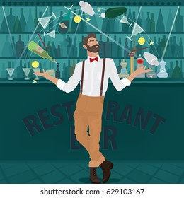 Fashionable hipster bartender with the suspenders and red bow tie deftly juggles glasses, shakers, bottles and other cocktail items. The bar in the background. Vector illustration