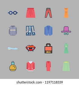fashionable icon set. vector set about eye glasses, dress, ballet flats and blinder icons set.