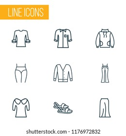 Fashionable icons line style set with low bias roll, flared jeans, puritan collar and other elegant pants elements. Isolated vector illustration fashionable icons.