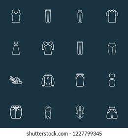 Fashionable icons line style set with swimming trunks, puritan collar, jeans and other t-shirt elements. Isolated vector illustration fashionable icons.