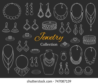 Fashionable  jewelry collection, vector hand drawn  doodle illustration. Woman accessories bracelets, necklaces, earrings and rings, isolated on chalkboard background.