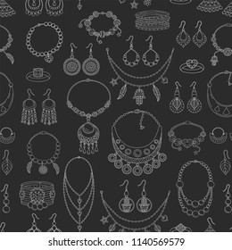 Fashionable jewelry collection vector seamless background pattern.