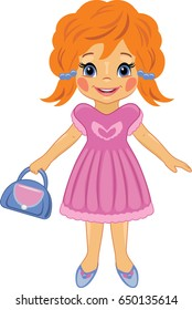 Fashionable little girl with a bag. Cartoon drawing. Vector