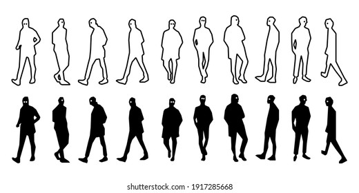 Fashionable male silhouette icon illustration black and white material
