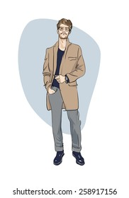 Fashionable man. freehand drawing vector.Can be used for banners, cards, covers, etc.