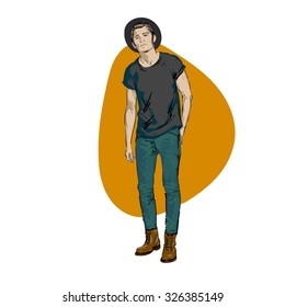 Fashionable man. freehand drawing vector. Can be used for banners, cards, covers, etc.