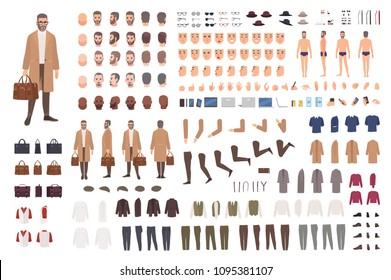 Fashionable man of middle ages constructor or DIY kit. Set of male cartoon character body parts, facial expressions, gestures, clothes, accessories isolated on white background. Vector illustration