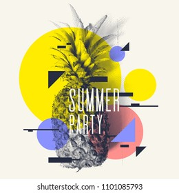 Fashionable modern poster with pineapple, summer party. Vector illustration.