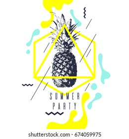 Fashionable modern poster with pineapple, summer party. Vector illustration. Memphis style banner