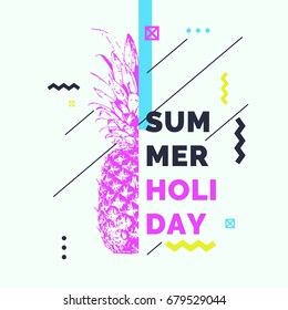 Fashionable modern poster with pineapple, summer holiday. Vector illustration. Memphis style banner