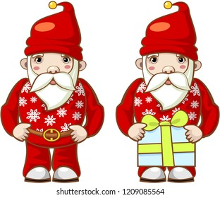 Fashionable modern santa claus. Set. Vector.