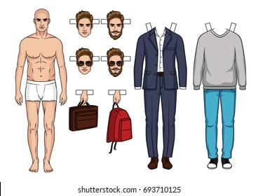 Fashionable modern set of clothes and accessorizes for men. Modern clothing ,casual style and business suit for men. Hand drawn Men's paper doll with clothes, shoes, bags and hairstyle