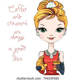 Fashionable modern smartly dressed girl with coffee and croissant. Caption - Coffee and croissant is always a good idea