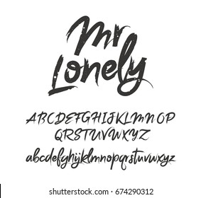Fashionable modern vector font on white background. Uppercase and lowercase letters. Lettering, typography, calligraphy. English alphabet. Elements for design.