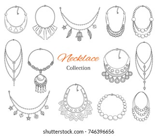Fashionable necklaces collection, vector hand drawn  doodle illustration, isolated on white background.