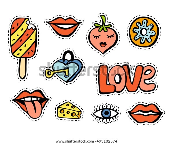 Fashionable patch set. Hand drawn lips, strawberry, donut, ice cream, eye, cheese, love background. Comic stickers, pins, patches, badges  doodle in cartoon pop art 80s-90s style. Vector illustration