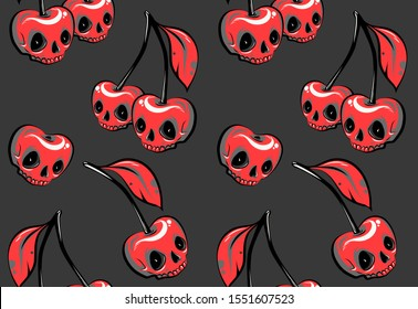 fashionable pattern with cherry skulls
