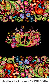 Fashionable print with colorful floral seamless border and hippie peace flowers symbol for shirt design and hippy party poster on black background