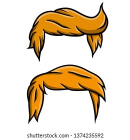 Fashionable red hairstyle men. Yellow hair on the face. An element of the top of the head like Trump. Beautiful hand drawn haircut.