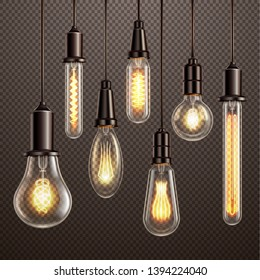 Fashionable retro vintage style soft amber hue glowing filament edison ligt bulbs dark transparent background vector illustration