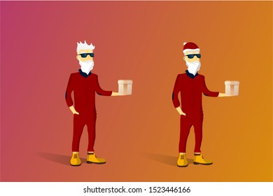 Fashionable Santa Claus. Santa Claus hipster. Fashionable, gray-haired grandfather hipster. Red checkered pants, silk boots, red jacket, glasses, New Year's hat red.