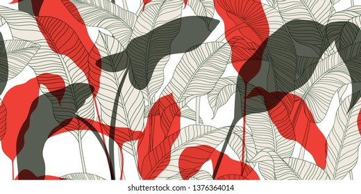 Fashionable seamless floral pattern in vintage oriental style. Sketch of exotic leaves on a light background. Hand-drawn vector illustration.