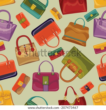 2b1c4a3f65 Fashionable Seamless Pattern Colorful Handbags Purses Isolated Stock ...