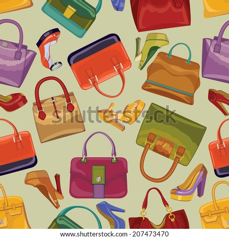6c383bbc64 Fashionable Seamless Pattern Colorful Handbags High Stock Vector ...