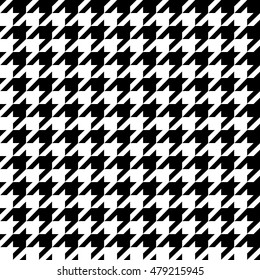 Fashionable seamless pattern hundstuth black and white textiles