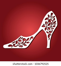Fashionable Shoes with hairpin. Laser cutting template. Vintage vector female shoes.