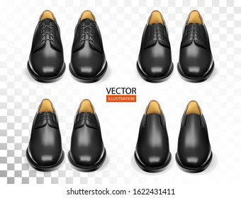 Fashionable shoes realistic set with stylish black oxford boots isolated vector illustration for cobbler shop. Ads, promo and banner design of accessories kit for shoeshine service for man and woman