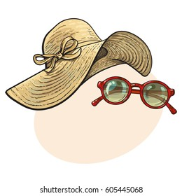 Fashionable straw hat with wide flaps and sunglasses in red round frame, summer objects, sketch vector illustration with place for text. Hand drawn floppy straw hat and round sunglasses