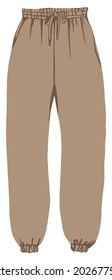 Fashionable and stylish clothes for modern contemporary apparels and looks. Isolated cargo trousers, joggers for cool sportive outfit. Wearing warm unisex pants on fleece. Vector in flat style