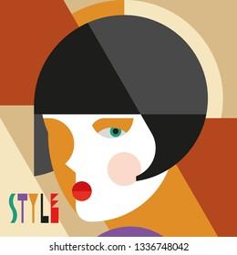 Fashionable stylish woman. Modernist style woman head with stylish headdress. Modernism style art. Geometric shapes art.