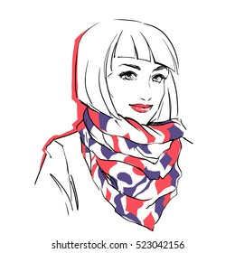 Fashionable stylish woman in winter clothes. She is wearing warm parka and big scarf on her neck. Hand drawing vector illustration with black line art.