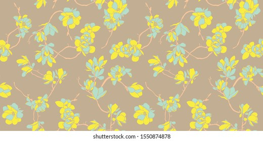 Fashionable template for design of clothes. Floral seamless pattern wallpaper in yellow, mint and camel color- Nordic magnolia flowers background - Vector