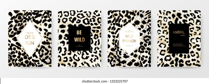 Fashionable templates with black and white leopard skin print.