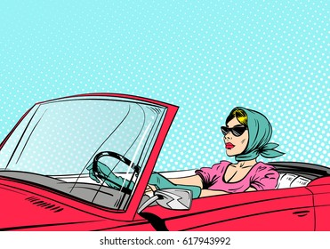 Fashionable woman driving red cabriolet. Pop art comics retro design vector illustration.