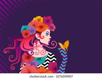 Fashionable woman with flowers in her hair. Retro pop art style. Eps10
