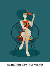 Fashionable woman with hat sitting in chair. Retro pop art style. Eps10