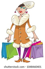 A fashionable woman weared in warm leather coat with fur collar keeps paper bags. Sale. Cartoon. Caricature.