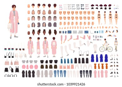 Fashionable young girl creation set or DIY kit. Collection of body parts, trendy clothes, stylish accessories, faces, postures. Female cartoon character. Front, side, back views. Vector illustration.