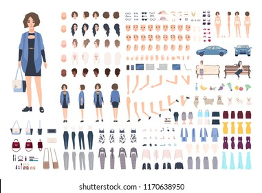 Fashionable young woman DIY or animation kit. Collection of girl's body parts, gestures, emotions, stylish clothes, trendy accessories isolated on white background. Flat cartoon vector illustration.